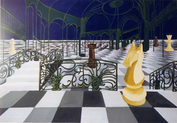 Echec à la Reine au Grand Palais 089  x 116 - acrylique sur toile - 1997
