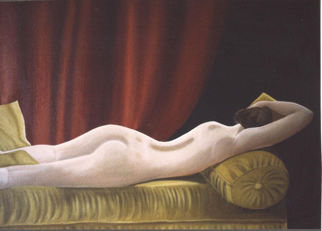 Jeune Fille sur le Canapé Jaune - huile sur toile  - 1999 collection particulière