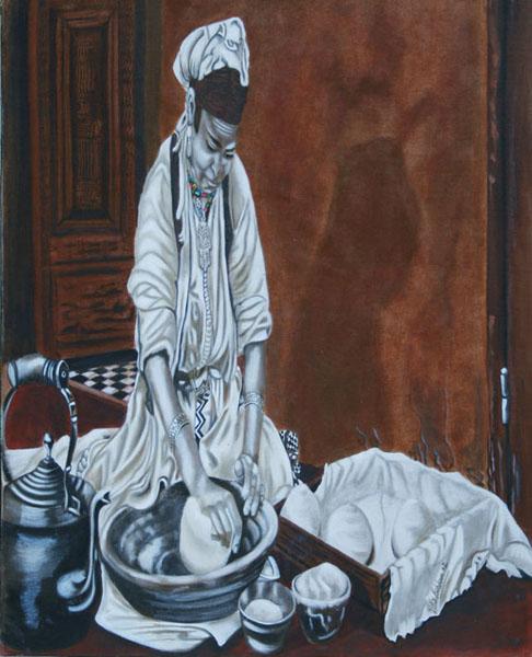 Visages - huile sur toile 100 x 081 - 2002