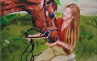 Kate et le Pur Sang - huile sur toile 130 x 097