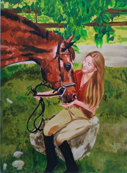 Kate et le Pur Sang - huile sur toile 130 x 097 - 2007