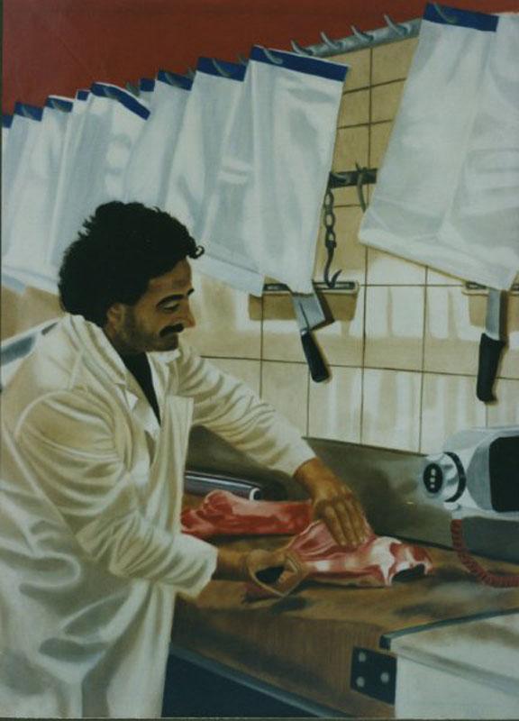 Le Boucher - huile sur toile30 x 097  - 1999