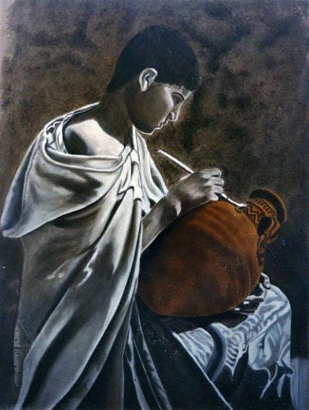 Le Petit Potier - huile sur toile 130 x 097 1999 - collection particulière