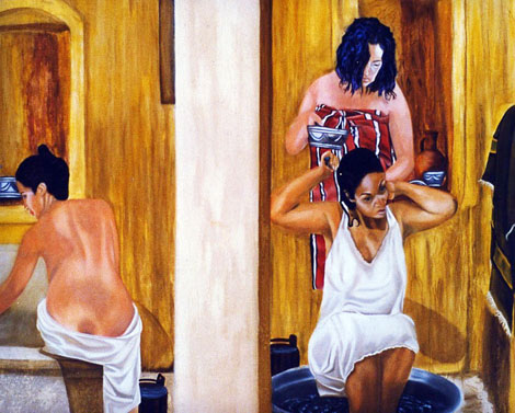 La Baignoire -  huile sur toile 130 x 162 - 2004