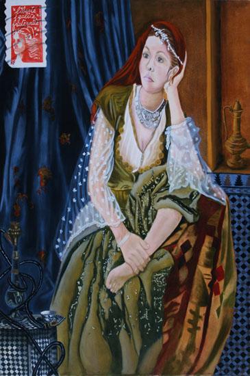 Le Narguilé autoportrait - huile sur toile 146 x 097 collection particulière