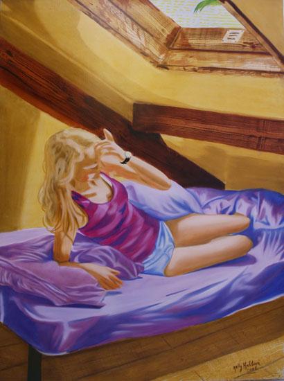 Le réveil - huile sur toile 130 x 097   2006