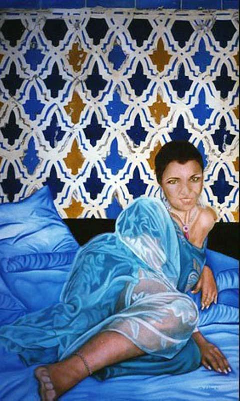 Les Draps Bleu - huile sur toile  162 x 097