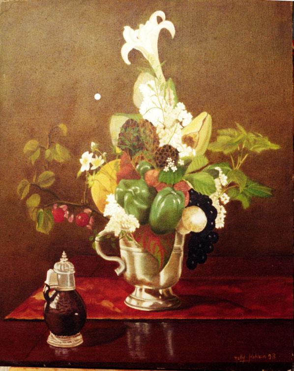 Les Poivrons - huile sur toile 081 x 065- 1998