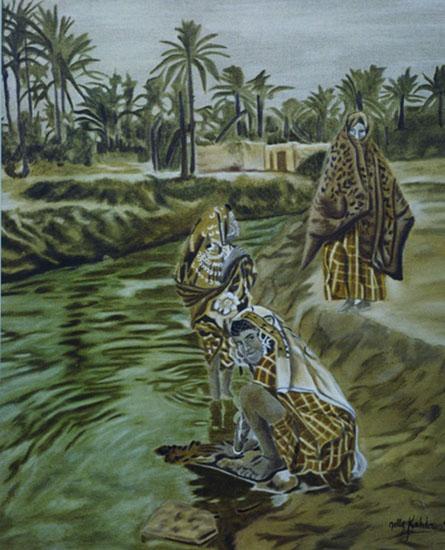 Les ronds dans l'eau - huile sur toile 100 x 81 - 1999