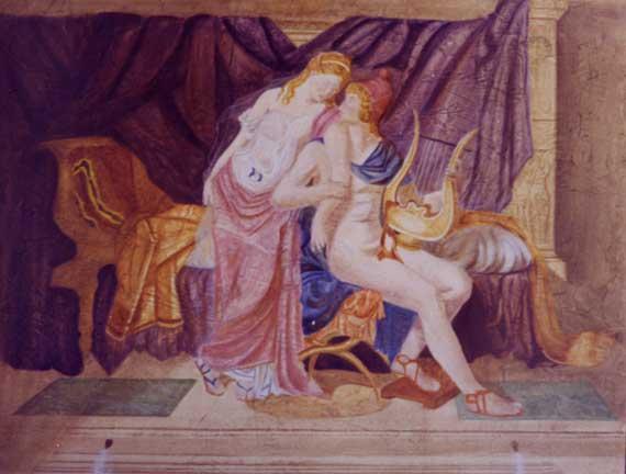 Les Amoureux - fresque sur toile technique mixte 097 x 130 - 1999  collection particulière