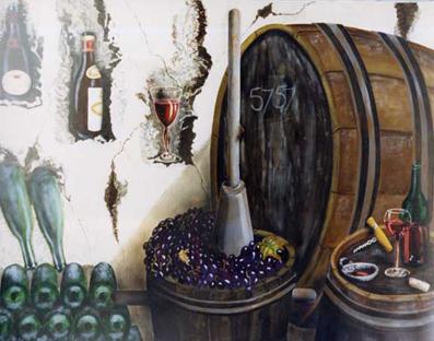 Chai de Bacchus - huile sur toile  130 x 097 - 1997