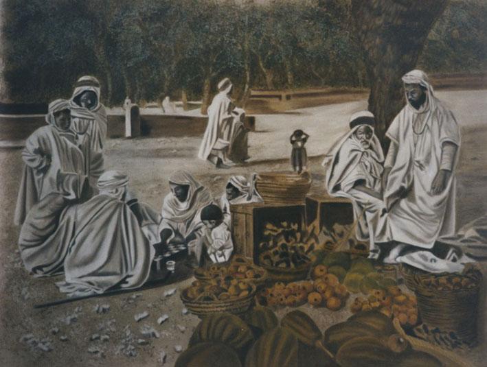 Joueurs au Marché - huile sur toile 097 x 130 collection particulière