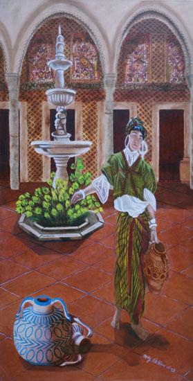 Le Patio - huile sur toile 160 x 080 - 2002
