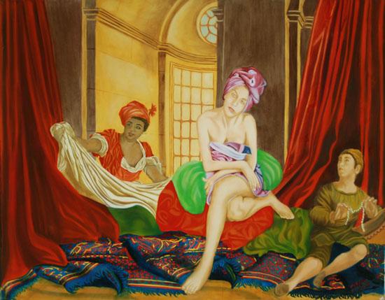 Les Bouffons de la Belle - huile sur toile 114 x 146 - 200