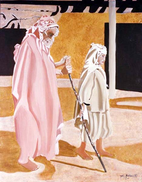 Les Pèlerins - huile sur toile 092 x 073 - collections particulière