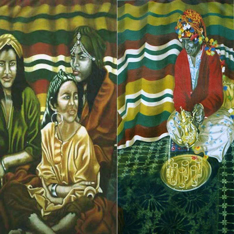 Cérémonie du Thé à la Menthe dyptique - huile sur toile 2x 160 x 080 - 2002