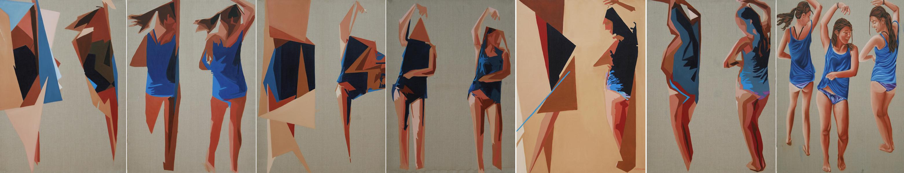 Danseuses septyptique - huile sur toile  6x 130 x 097 + 1x 146 x 114  -   2011