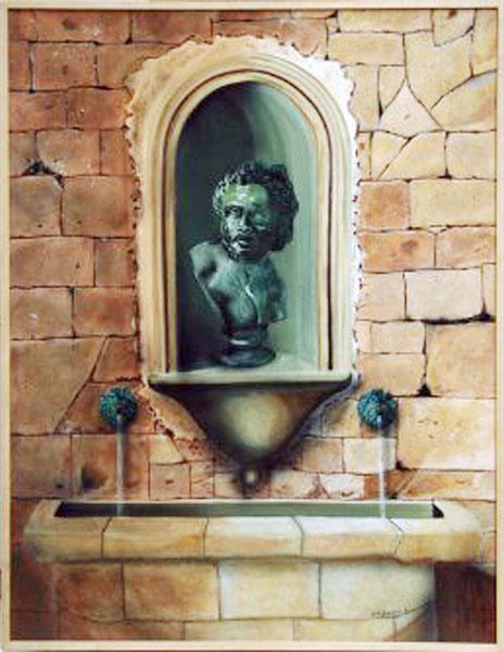 L'Abreuvoir - acrylique sur isorel 116  x 089   -  1997
