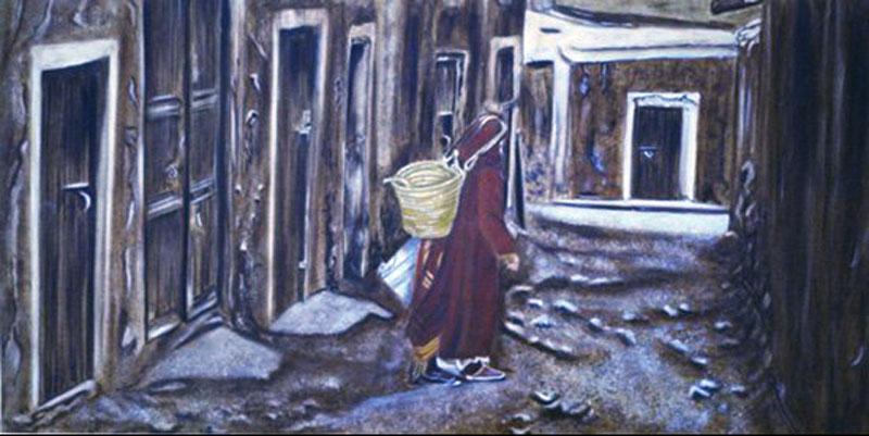 La septième porte - huile sur toile  080 x 160   -   2000