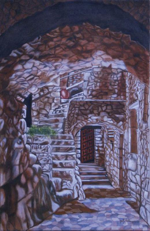 Labyrinthe - huile sur toile   100 x 081  -   2002
