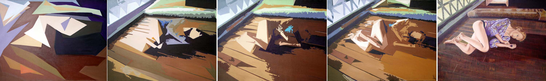 Nonchalance - quintyptique huile sur toile (s 130 x 097  2011