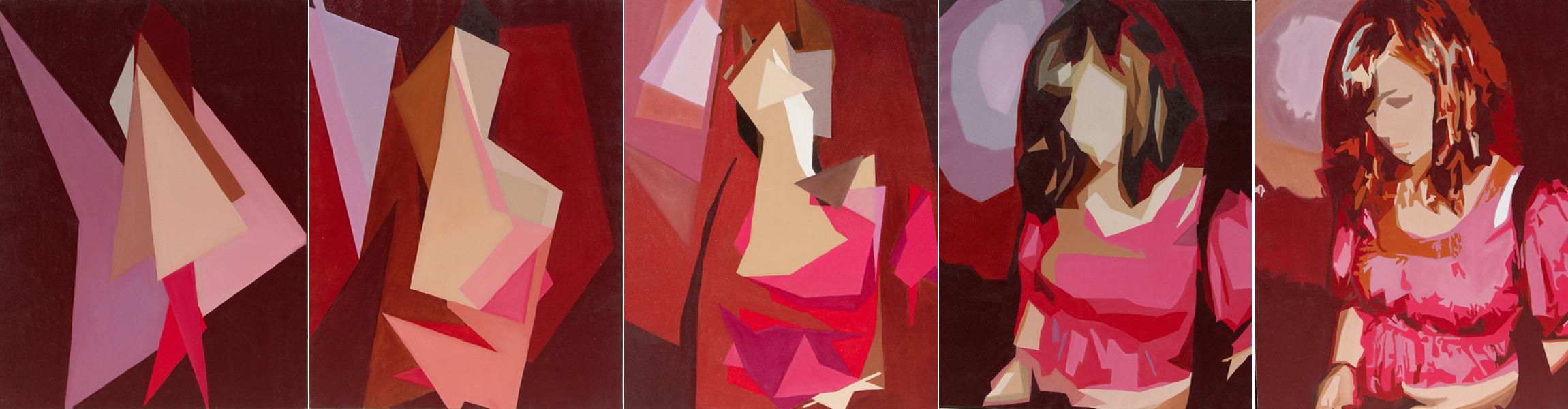 Sarah quintyptique - huile sur toile  5x 130 x 097 - 2010 collection particulière