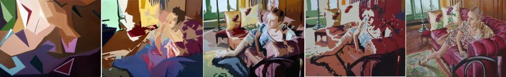 Gioia - huile sur toile quintyptique 097 X 130 x 5  2012