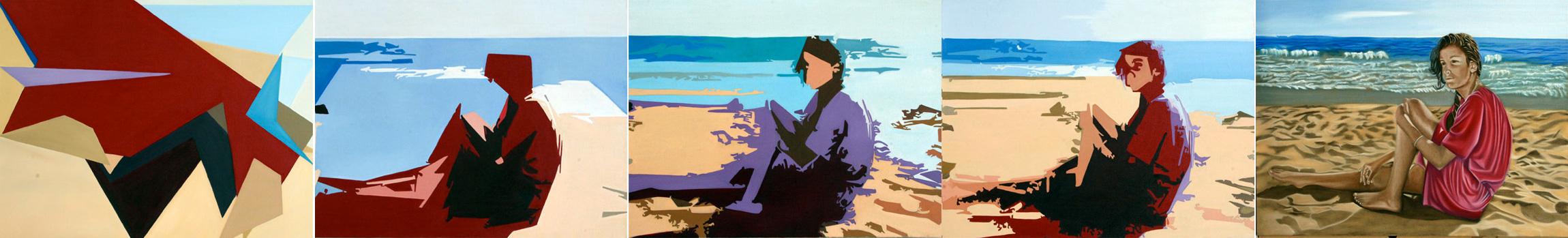 Leah-quintyptique - huile sur toile - 097x130 - 2012