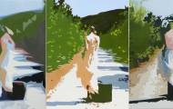 Elle a Osée 1 - huile sur toile quintyptique 5 x 130x097 - 2012