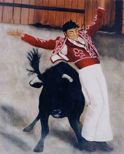 Dance avec les Cornes - huile sur toile - 100x81 - 1998