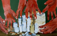 Jeux de Mains…Jeux de …. – acrylique sur toile 065 x 081- 1997 collection particulière
