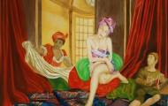 les bouffons de la belle huile sur toile 114 x 146