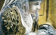 Femme Accoudée au Balcon - huile sur toile 100 x 087 - 1999